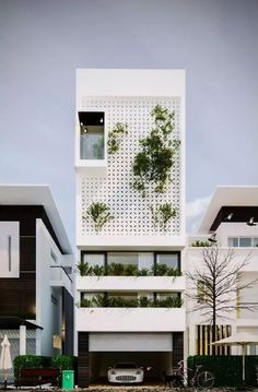 Những mẫu nhà có mặt tiền bằng gạch thông gió đẹp mê mẩn - Hình 3 Social Housing Architecture, House Architecture Styles, Facade Architecture, Tropical Architecture, Narrow House Designs, Small House Design, Facade Design, Exterior Design, Small Villa