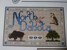 Designed by Lavender Wings Stitched by Me  These will be stitched on a beige 14ct aida fabric   Choose your state of North Dakota, South Dakota, Iowa, Missouri, Minnesota  ... #craftshout #etsyseller #crossstitch #etsyshop #etsychaching