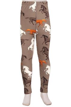 de7873175f Girl s Horse Pony Equestrian Leggings Gray Brown  S L. Mother Daughter  OutfitsMommy And Me ...