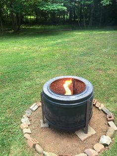 Fire pit out of an old dryer drum