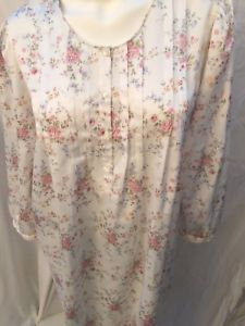 32394a8ad9 ARIA Komar Floral Satin Pintuck Victorian Nightgown Gown Cotton Lined Sz L  Large