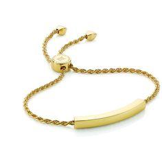 MONICA VINADER Linear Chain Bracelet ($260) ❤ liked on Polyvore featuring jewelry, bracelets, chain bracelet, adjustable bracelet, twisted bracelet, gold toggle bracelet and gold bangles