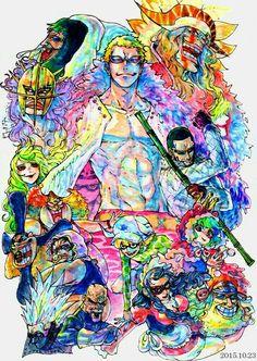 One Piece characters, Donquixote family, Doflamingo, Pica, Diamante, Trebol, Gladius, Lao-G, Sugar, Buffalo, Baby 5, Machvise, Señor Pink, Dellinger, Violet, Jora; One Piece