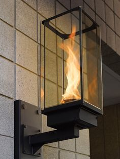 Outdoor Gas Lighting - Tempest Torch Gas Lamp Source by inspiredby I do not take credit for the images in this post. Patio Lighting, Home Lighting, Modern Lighting, Lighting Ideas, Modern Exterior Lighting, Luminaire Mural, Deco Luminaire, Interior Exterior, Exterior Design