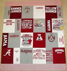 KatyDids T-Shirt Blanket.not with Alabama shirts. Bama Football, Crimson Tide Football, Alabama Crimson Tide, Old T Shirts, Band Shirts, Alabama Quilt, Alabama Shirts, Shirt Quilts, School Memories