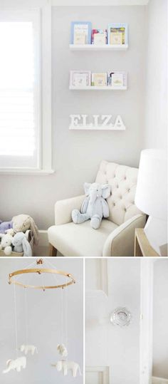 Sweet Classic nursery with light neutral colors and a subtle elephant theme.  Doesn't have to be overboard!