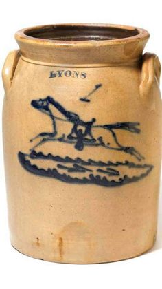 Stoneware Crock with Horse
