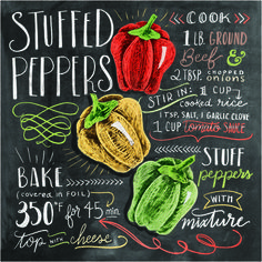Stuffed peppers recipe at Posterlounge ✔ Affordable shipping ✔ Secure payment ✔ Various materials & sizes ✔ Buy your print now! Baked Peppers, Deco Pastel, Blackboard Art, Lily And Val, Deco Marine, Chalkboard Designs, Chalkboard Sayings, Recipe Boards, Food Drawing