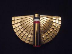 ART DECO WWII ERA TRIPLE VANITY COMPACT ORIGINAL BOX FLYING COLORS WINGS COTY