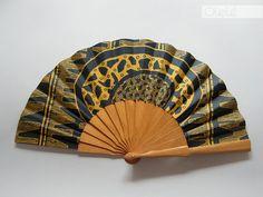 Tribal hand fan with sleeve  Petrol & Gold