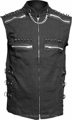 Sleeveless gothic shirt by Raven SDL, with rivet, zipper and chain detail.