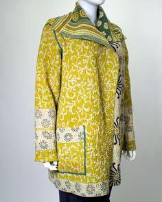 MIEKO MINTZ - Kantha Jacket Kimono Fashion, Boho Fashion, Fashion Outfits, Fashion Design, Coats For Women, Clothes For Women, Recycled Fashion, Kantha Quilt, Comfortable Outfits