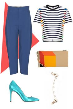 Chloé High-Waisted Cropped Trousers, 1095.00, available at mytheresa; Tanya Taylor Multi Stripe Bora Top, 425.00, available at Avenue 32; Charles & Keith Geometric Print Clutch, 43.00, available at Charles & Keith; Rue Gembon Diem Ear Cuff, 50.00, available at Rue Gembon; Le Parmentier Metallic Aqua Leather Pump, 278.00, available at Forzieri.