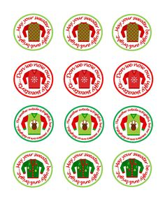Printable Ugly Christmas Sweater Party Cupcake Toppers. $9.00, via Etsy.