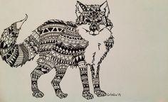 Zentangle Aztec Patterned Fox by EssenceofInk on Etsy