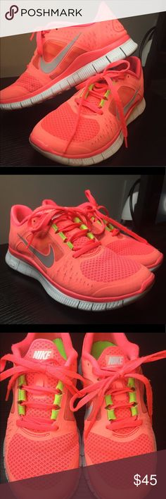 Vibrant Neon Pink Coral Nike Free Runs 3 size 6.5 Vibrant Neon Pink Coral Nike Free Runs 3 shoes! Worn a few times, In excellent condition! Size 6.5 Nike Shoes Athletic Shoes