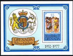 1977 Grenada Royal Silver Jubilee Miniature Sheet Fine Mint SG MS 861 Scott 792a Other Wesy Indian and Commonwealth stamps HERE