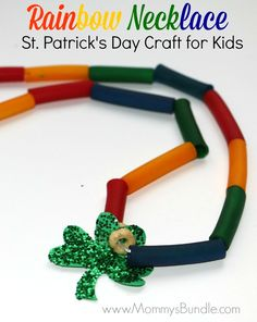 DIY Rainbow Necklace: This fun St. Patrick's Day craft for kids is made from dyed pasta and a glittered shamrock. A great kids craft for practicing fine-motor skills and color learning.