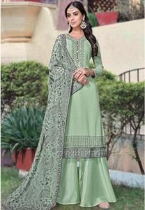 Mint Green Party Palazzo Suit Georgette Stone Work SFPRF131103 Sea Green Color, Mint Green, Palazzo Suit, Georgette Fabric, Pakistani Suits, Work Tops, Stone Work, Salwar Kameez, Green Fabric