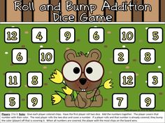 Roll and Bump Addition Dice Game - Groundhog Day Freebie