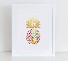 Pineapple Art Print Printable Pineapple by DecorartDesign on Etsy
