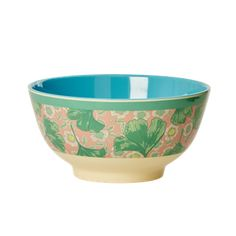 Melamine Bowl Two Tone with Leaves & Flower Print