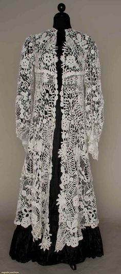 IRISH CROCHET EDWARDIAN COAT, 1905 - White cotton, 3-dimensional leaf & blossom lace, empire top, A-line body, shaped long sleeves