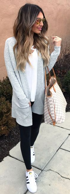#winter #fashion /  Grey Cardigan / White Tee / Black Leggings / White Sneakers  / Checked Tote Bag