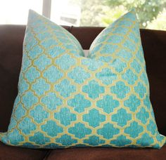 Decorative Pillow Cover - Turquoise Lime Green Quatrefoil Chenille Pillow Cover- Aqua Green Throw Pillow - Geometric Pillow