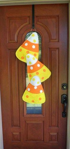 Fall Candy Corn Burlap Door hanger. $35.00, via Etsy. by Lee Ann Swift