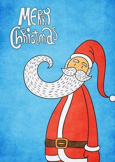 Dem Weihnachtsmann sein langer Bart   Frohe Weihnachten   Echte Postkarten…
