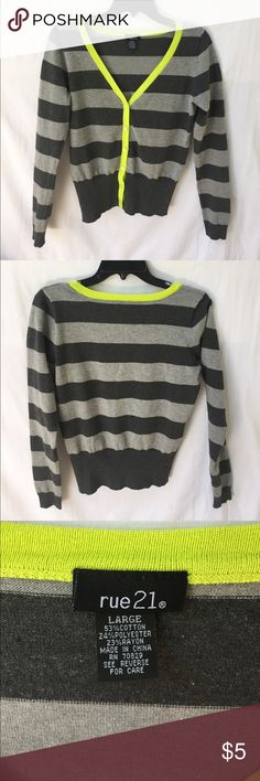 Awesome size L Rue 21 button up sweater Very pretty grey striped w yellow accent • EUC• cute w the yellow pants I have listed :) Rue 21 Sweaters Cardigans