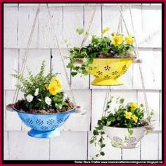 Dollar Store Crafter: Turn Colanders Into Hanging Planters