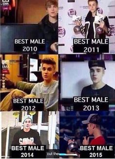 Justin accepting the best male EMA through out the years