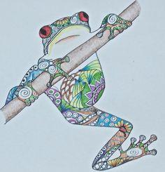 Zentangle Art, Frog Drawing, Hanging frog, Colorful frog, original drawing, colored pencil drawing, frog art