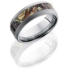 Titanium Domed Band with MossyOak Camo by Lashbrook