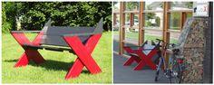 Tuinbank Cross XL Wil je iets nieuws en unieks in je tuin? Laat dan je eigen tuinbank door ons ontwerpen en maken. Deze bank is ontworpen op verzoek van een bedrijf. De basis is onze tuinbank Cross, maar het model is dusdanig aangepast dat een rode X, het bedrijfslogo, zichtbaar is. Wil je liever een andere kleur? Uiteraard is dat ook mogelijk. Prijs: op aanvraag en afhankelijk van wensen.