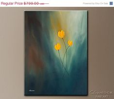 Original Beautiful Rays of Hope Yellow Tulips. Large Modern Abstract Art by CGUEDEZ. Acrylic and Oil Painting. Textured Art. FREE SHIPPING