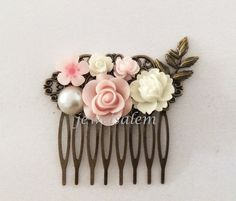 Light Pink Comb Wedding Bridal Hair Accessories Blush White Flower Leaf Bridesmaids Hair Pin Romantic Soft Pastel Dreamy Vintage Style PM