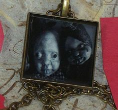 Valentine Creepy Dolls In Love Captured  In A Photo Booth Jewelry Charm Only 4 Ever Love Horror Altered Art Ghoulery by Lorcheenas on Etsy https://www.etsy.com/listing/178727116/valentine-creepy-dolls-in-love-captured