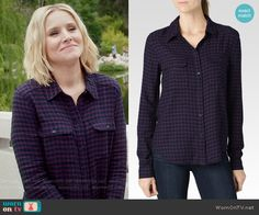 Eleanor's navy and purple checked shirt on The Good Place.  Outfit Details: https://wornontv.net/59861/ #TheGoodPlace