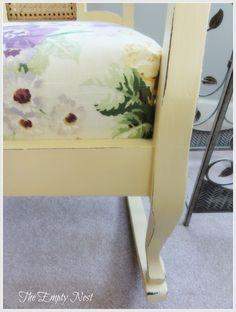 The Empty Nest: ~ A butter yellow Chalk Paint™ rocker ~ Yellow Chalk Paint, Milk Color, Milk Paint, Outdoor Furniture, Outdoor Decor, Vintage Decor, Empty, Paint Colors, Nest