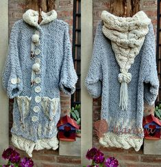 Discover thousands of images about warawa urbana Diy Tricot Crochet, Crochet Jacket, Freeform Crochet, Crochet Cardigan, Love Crochet, Pullover Upcycling, Crochet Fashion, Crochet Clothes, Pulls