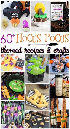 "Are you a fan of Disney's ""Hocus Pocus"" movie? Check out this collection of over 60 recipes and crafts inspired by this hilarious Halloween movie! Films D' Halloween, Halloween Movie Night, Halloween Goodies, Halloween 2020, Spooky Halloween, Holidays Halloween, Baby Halloween, Halloween Treats, Halloween Recipe"