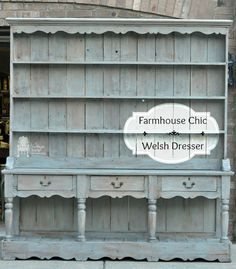 Farmhouse Chic Welsh Dresser Makeover - Now I know some of you would Never paint this. but my client wanted it to be a little more French inspired and was tir… Recycled Furniture, Furniture Projects, Furniture Makeover, Painted Furniture, Home Furniture, Street Furniture, Painted Hutch, Dresser Furniture, Furniture Buyers