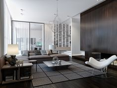 A spiderweb-like chandelier offers tiny points of light and a unique design element in the living room.