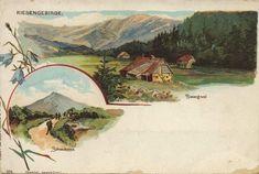 Riesengebirge, Schlesien: Riesengrund; Schneekoppe Painting, Vintage, Art, Historia, Poland, Snow, History, Nature, Roots