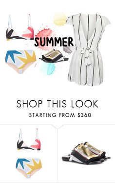 """""""Untitled #714"""" by aschwing ❤ liked on Polyvore featuring Mara Hoffman, Proenza Schouler, Summer, stripes, swimsuit, romper and heatwave"""