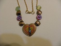 VICTORIAN GLASS BUTTON necklace Heart Shaped by BarbarasButtons,