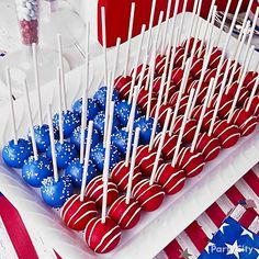 Clever way to create a fancy flag design using basic, round cake pops. Recipe and how-to.